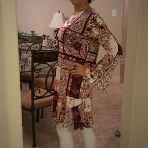 Dress Cream pink white Midi tunic bell sleeve New